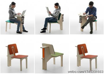 書桌椅子一體兩用的完美範例!