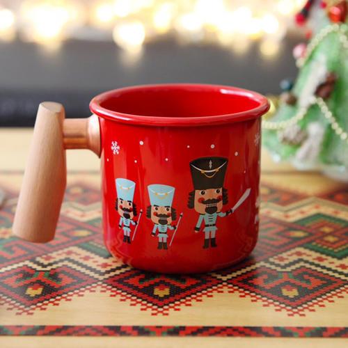 聖誕胡桃鉗 木柄琺瑯杯